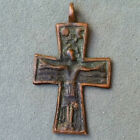 Excellent Ancient Medieval Copper Cross with Crucifix - 46x27mm