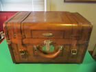 Antique American Leather over Wood Society Trunk - Late 1800s