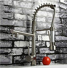 Brushed Nickel Pull Down Spray Kitchen Sink Faucet Swivel Spout Brass Mixer Tap