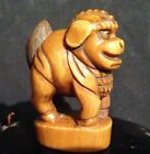 Japanese Antique Tea Stained or Lacquered Netsuke of a Foo Dog