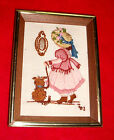 Beautiful vintage Hand Embroidered Wood Frame Picture Girl PLAYING DRESS UP 6x8