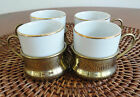 SET OF FOUR IPA ITALY WITH BRASS HOLDERS ESPRESSO CUPS UNIQUE CLASSY