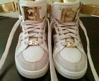 Michael Kors Nikko High Tops Wedge Sneakers White Gold Size 6.5