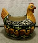 RARE CLAY HAND MADE & PAINTED POTTERY HEN / ROOSTER / CHICKEN PLANT VASE