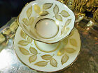 PARAGON TEA CUP AND SAUCER ELEGANT WHITE WITH GOLD GILT LEAVES SEMI SQUARE c1960