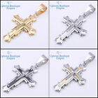 MEN's Stainless Steel classic Solid Gold Silver Black 2 tone Cross Pendant #101