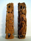 Pair Vintage or Antique Figural Articulated Chinese Hard Wood Carvings Statues