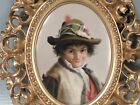 Antique German Porcelain Plaque - Young Child with Hat - hand painted Berlin? PC