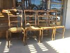 Antique French Ladder Back Chairs Light Oak- Set Of 4