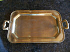 Vintage Brass Handled Serving Tray - Engraved with a Holland Windmill Scene