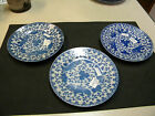 3 PHOENIX  Bird Flying Turkey PLATES 7'' wide. USED BLUE AND WHITE