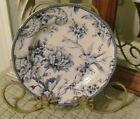 222 Fifth ADELAIDE Round Salad Plate Blue & White Flowers/Floral Toile Bird