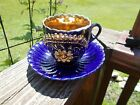 Vintage Cobalt Blue and Gold MoustacheChina Cup and Saucer
