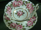 ANTIQUE ENGLISH TEA CUP AND SAUCER EARLY TO MID 19th CENTURY H.P. PINK ROSES