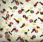 Rise and Shine Roosters red yellow black fabric
