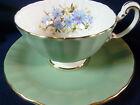 AYNSLEY FANCY  TEA CUP AND SAUCER SAGE GREEN BLUE FLOWERS OBAN  GILT c1950s