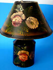 Lovely Vintage Handpainted Tole Decorative Art Metal Kerosene Oil Lamp Light 13