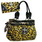 Western Rhinestone Purse Leopard Print Handbag Bling Cross With Matching Wallet