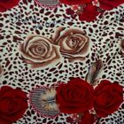 Red Roses On Leopard Fleece Fabric BY THE YARD
