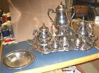 8 PCS 1883 F.B. ROGERS HOT WATER URN TEA COFFEE POTS & TRAYS SILVER ON COPPER