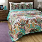 BEAUTIFUL REVERSIBLE TROPICAL EXOTIC BLUE TEAL PURPLE TURQUOISE RED QUILT SET