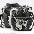 Cow_BK/WT_135_Western Rhinestone Buckle Cow Print Purse Cowgirl Bling Handbag