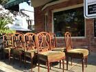 Set of 10 French made dining chairs. Mahogany and mahogany veneers. In estate...