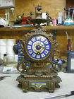 French Mantle Clock Old Gilt finish & Porcelain Panel & Dial Working 8 day parts