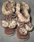 Faded Glory Toddler sz 5 Brown Faux Suede  Faux Fur 6Tall Boots w Pom Poms