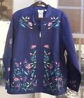 QUACKER FACTORY LIGHT NAVY EMBROIDERED MANDARIN COLLAR STRETCH JACKET ~ 2X ~ NWT