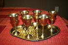 VINTAGE BRASS HAMMERED TRAY & 6 CUPS GOBLETS APERITIF STEMWARE ~ MADE IN INDIA