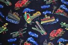 Trains Planes Cars Boats Fleece Fabric 15 Inch Remnant Piece