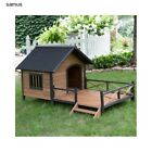 Large Dog House with Porch Deck Raised Floor Wooden Outdoor Kennel Shelter Home