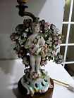 Antique 18th Century English Chelsea Bow Derby Figurine Lamp Flowers