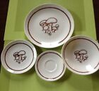 Anchor Hocking Merrie Mushroom 3 Plates 1 Dinner Bread Coffee And 1 Bowl 1970s