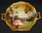 NIPPON NORITAKE PORCELAIN BOWL HAND PAINTED TROPICAL FLOWERS BROWN MORIAGE 1920s