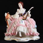 W R Dresden Art Germany Dresden Lace Lady With Mandolin & Parrot Bird Figurine