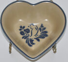 Pfaltzgraff Pottery Heart Dish Blue Bird Folk Art on Oatmeal 8