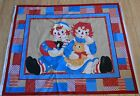 Vintage FABRIC Cotton Raggedy Ann Andy Daisy Kingdom Quilt Block Panel Wall Art