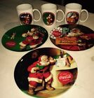 Gibson Coca Cola Santa Plate & Cup Lot Of 6 Pieces New