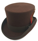 Quality Hand Made Brown 100 Wool Top Hat Wedding Event Hat 4 Sizes