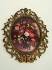 Antique Brass Victorian Wall Hanging Oval Floral Photo Picture Frame Italy 13.5