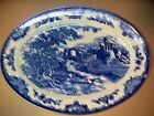 ANTIQUE Circa 1800's Blue & White OVAL Platter / Tray Made in Japan Crown Mark
