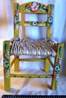 Child's Chair Vintage Mexican Rush Seat Hand-Painted Made in Mexico Wood 1950's