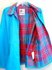Misty Harbor Raincoat Sz L Turquoise with Plaid Lining Windbreaker Jacket