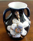 Antique Unmarked Vase , Cobalt Blue with White Flowers and Gold Trim.