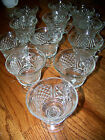 set of 12 COLONY BAROQUE PEDESTAL PUNCH BOWL CUPS CRYSTAL PRESSED GLASS