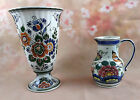 Dutch Delft POLYCHROME hand painted porcelain majolica  Vase and Pitcher signed