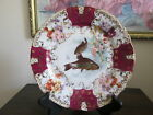 Victoria Carlsbad Austria Fish Plate Hand Painted  Flowers Red  Gold
