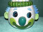 Vintage Hand Painted Ceramic Clown Face Head Cookie Jar Container  Blue Signed